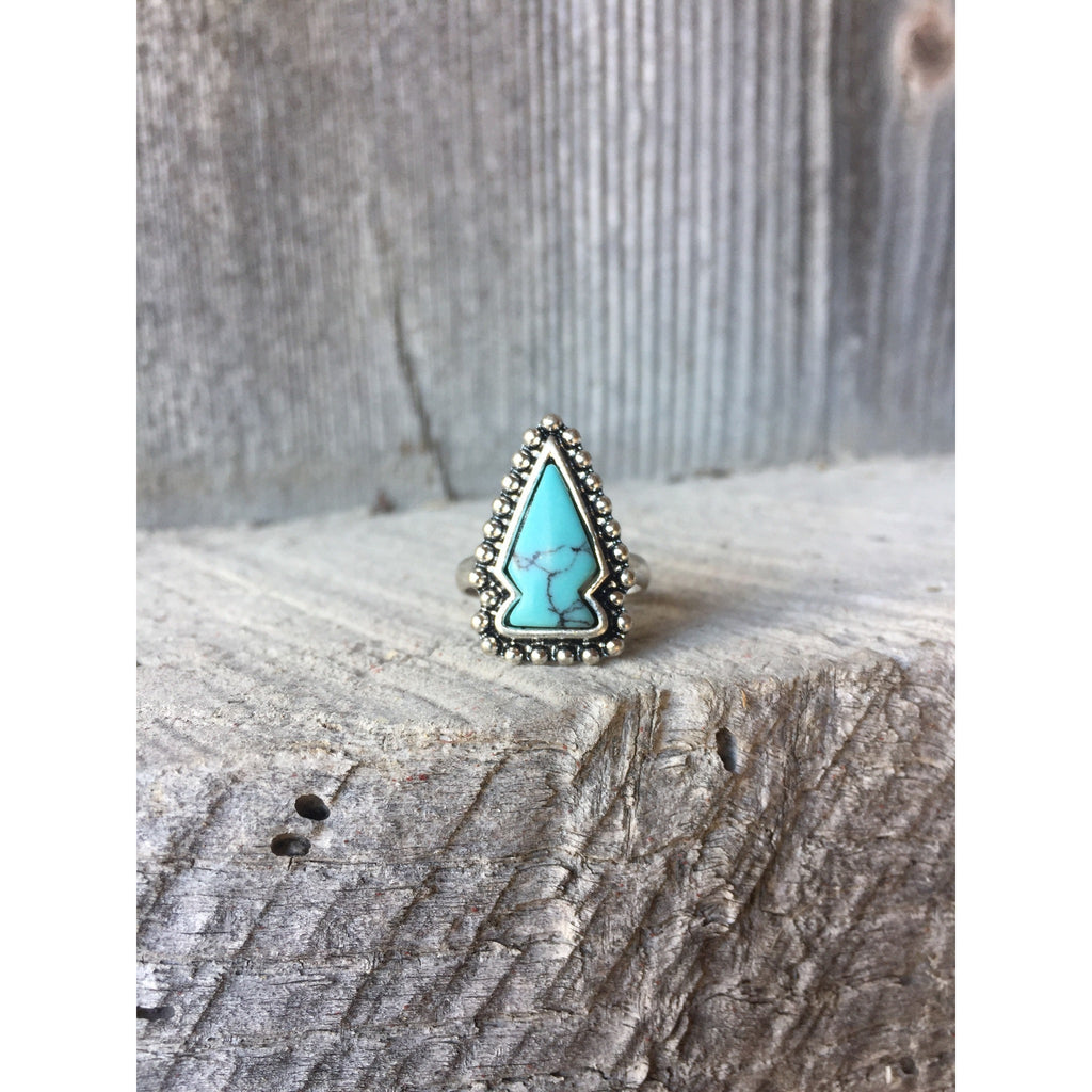 Turquoise Arrowhead Ring - Ropes and Rhinestones