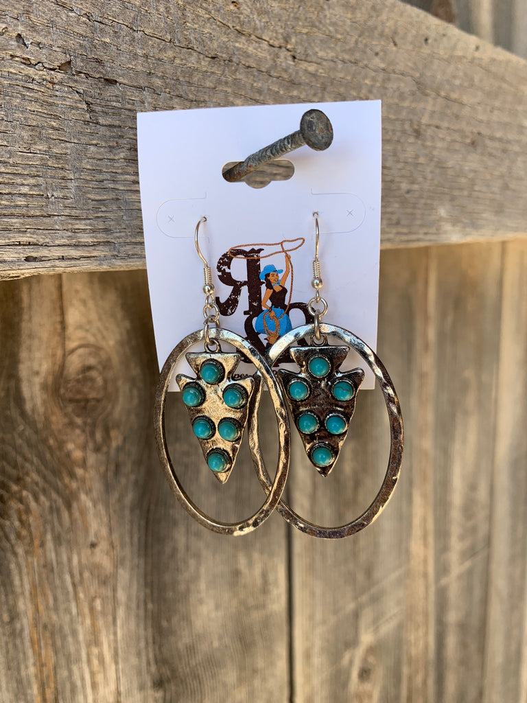 Turquoise Arrowhead Hoop Earrings