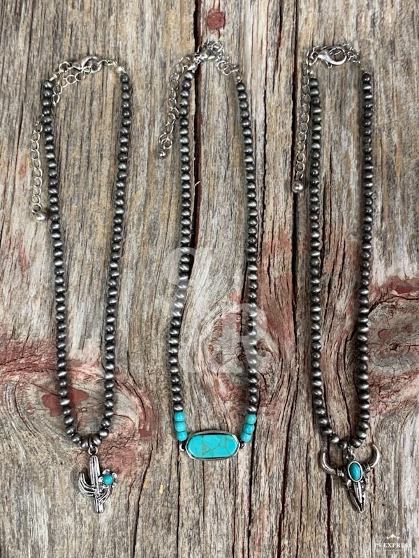 Navajo Pearl Choker with Turquoise Pendant