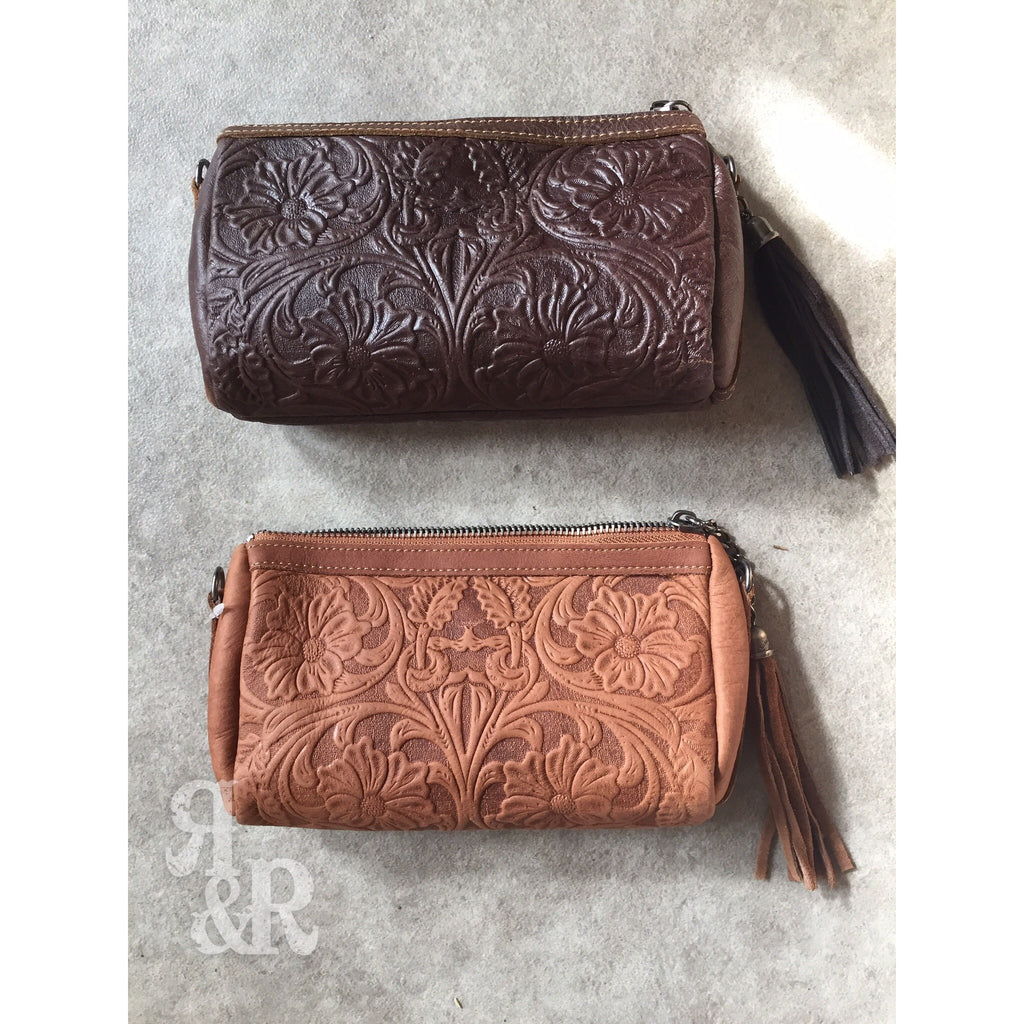 Tooled Leather Clutch - Ropes and Rhinestones