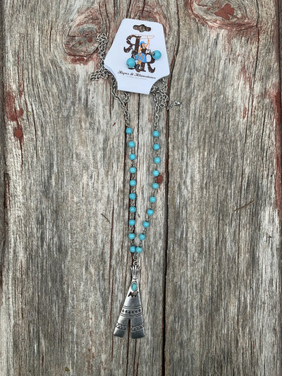 Teepee & Turquoise Necklace Set
