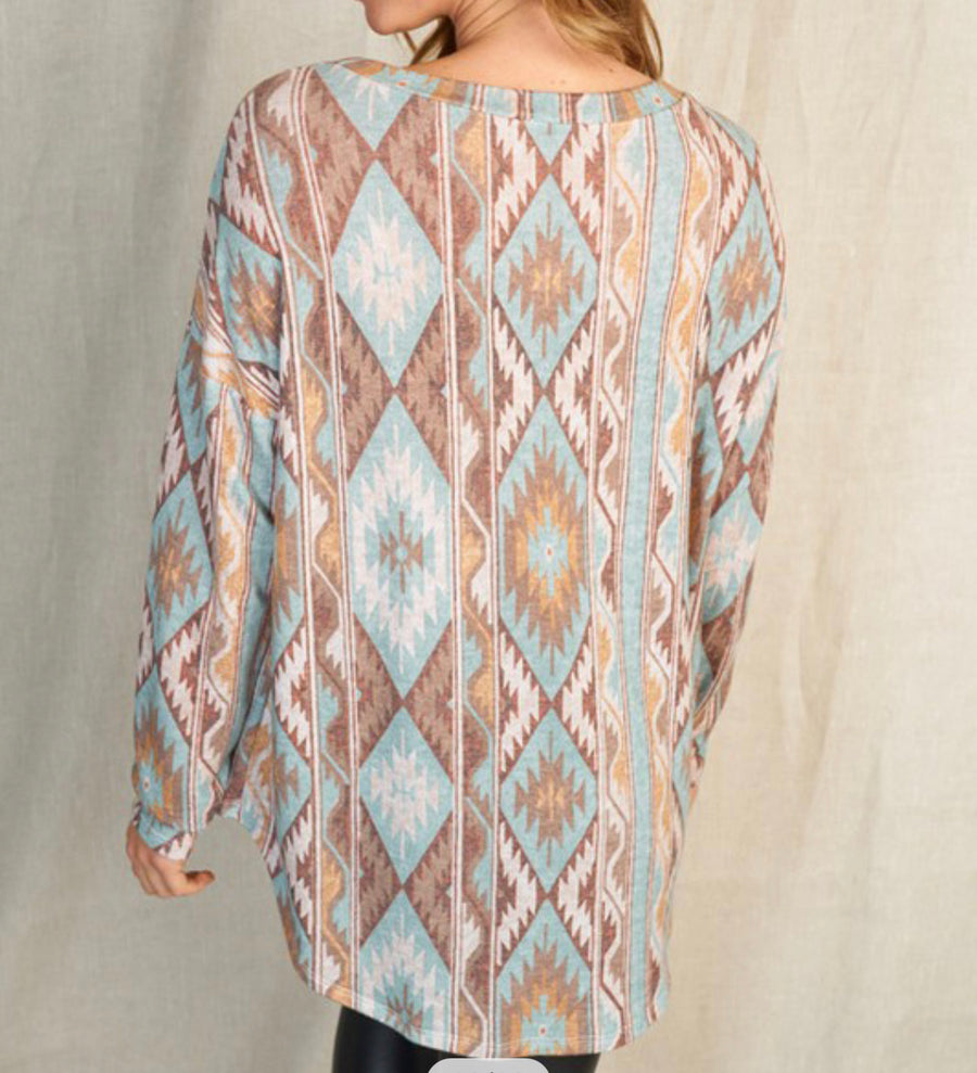 Blue Aztec Long Sleeve Top