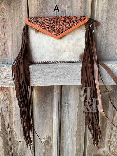 Cowhide & Fringe Tooled Envelope Purse