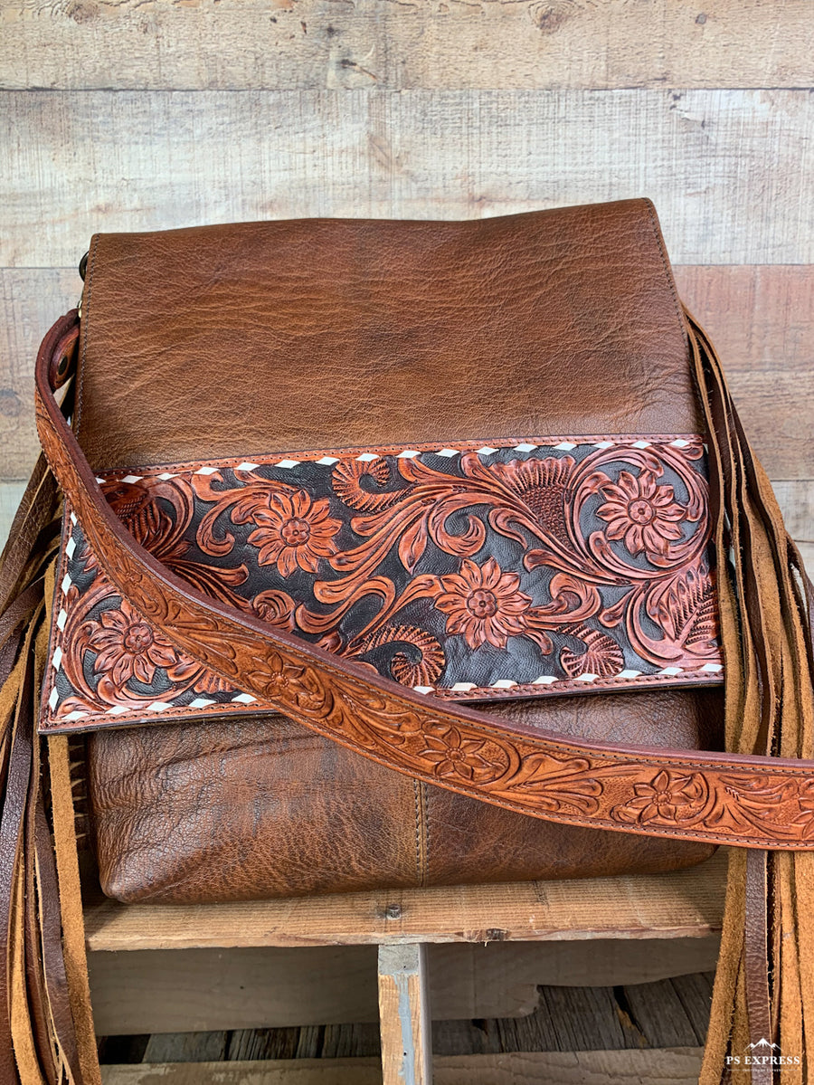 Smooth Leather Buck Stitch Cross Body Purse