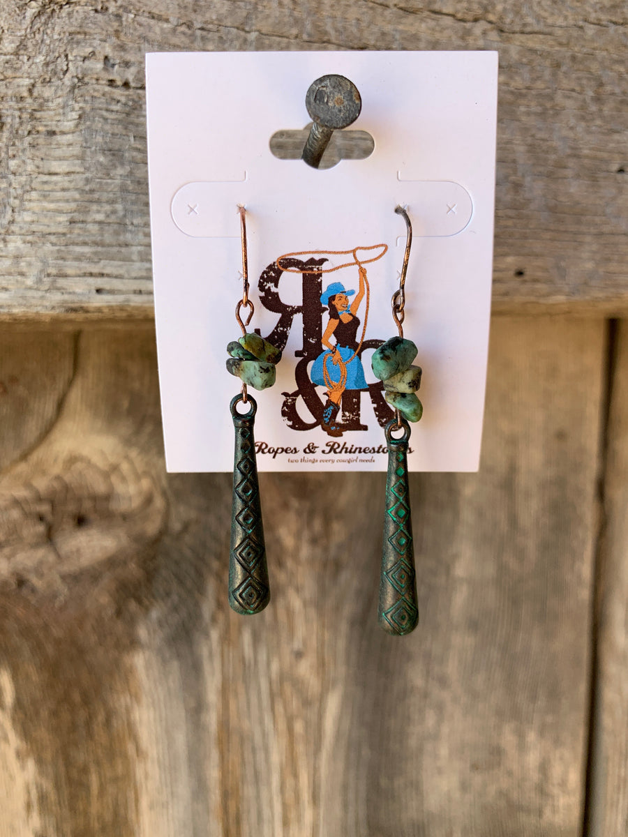 Diamond Patina Stone Earrings