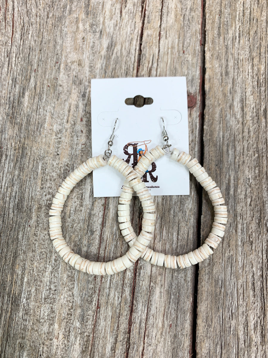 White Turquoise Disc Bead Hoop Earrings