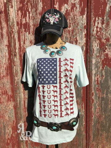 American Cowboy Flag Tee - Ropes and Rhinestones