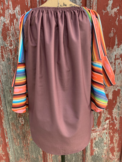 Aztec Serape Sleeve Top - Ropes and Rhinestones
