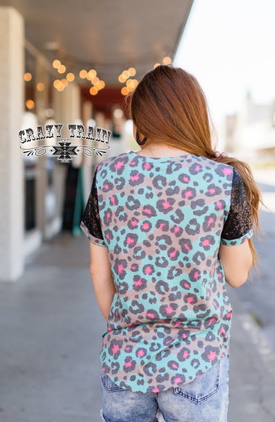 90's Called Leopard Sequin Tee