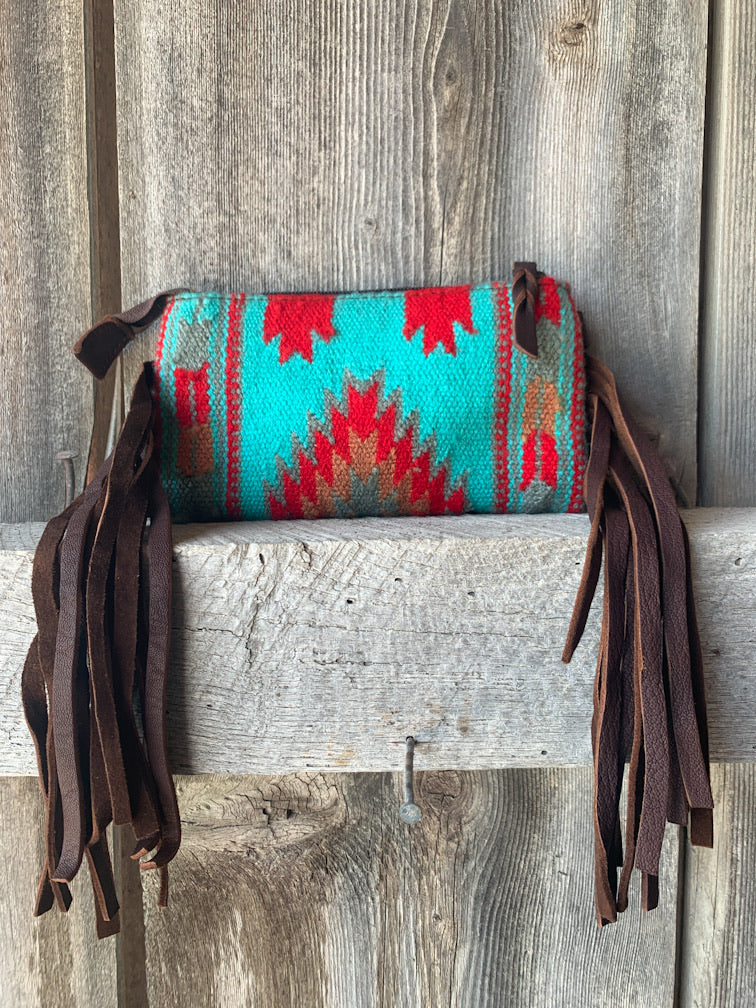 Turquoise & Red Blanket Wristlet