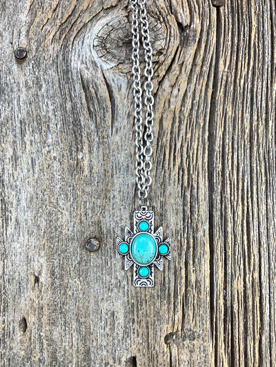 Aztec Turquoise Chain Necklace