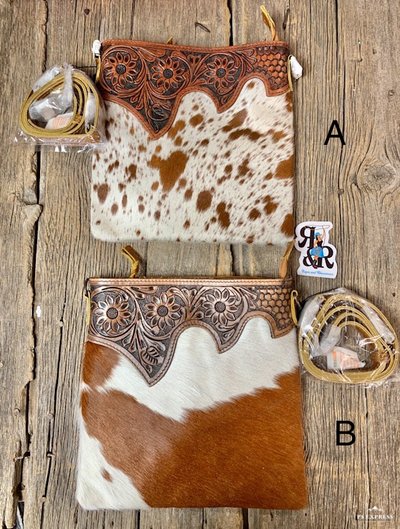 Flower Top Cowhide Purse