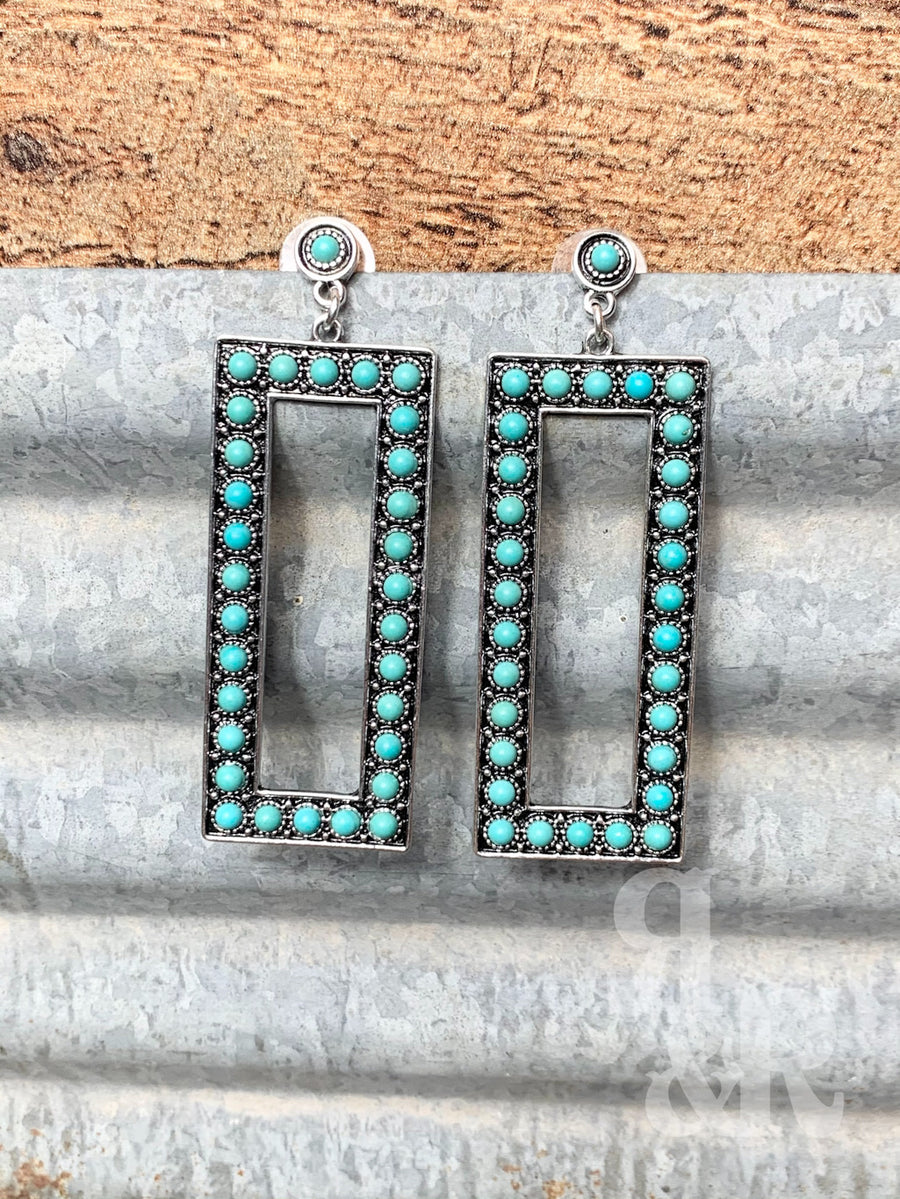Western Rectangle Turquoise Stone Earrings