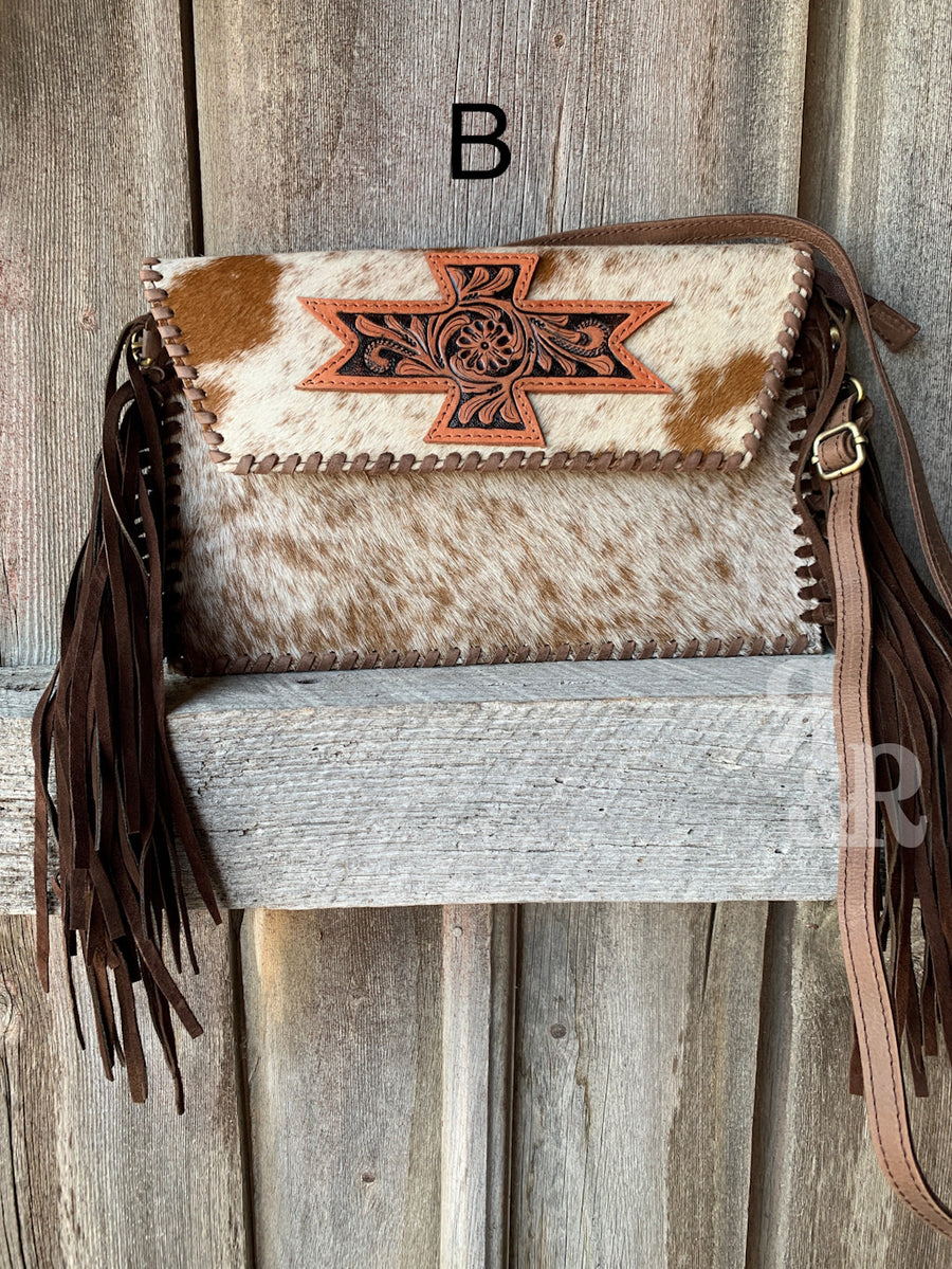 Aztec Patch Cowhide & Fringe Cross Body Purse