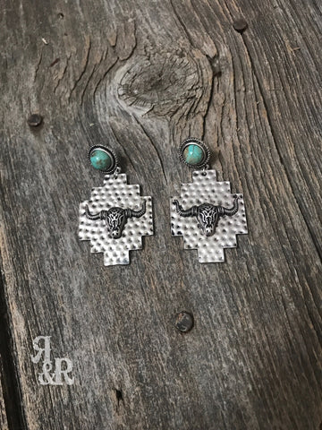 Hammered Silver Cow Skull Earrings