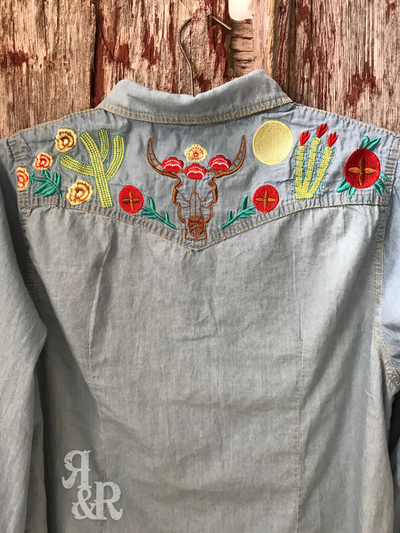 Cow Skull & Cactus Embroidered Shirt. - Ropes and Rhinestones