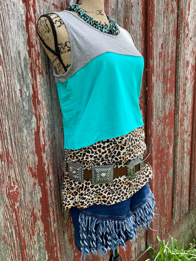 Turquoise Grey & Leopard Tank Top