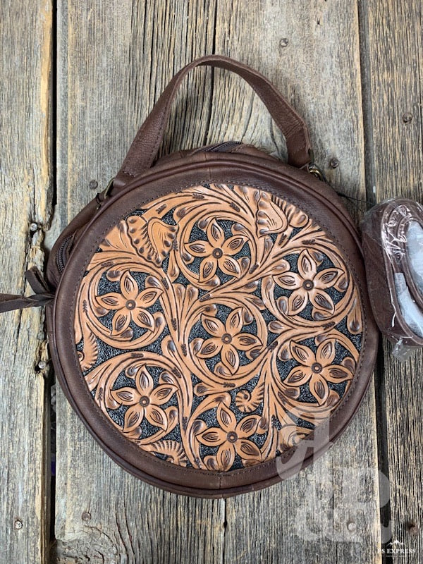 Floral Tooled Black Background Canteen Purse