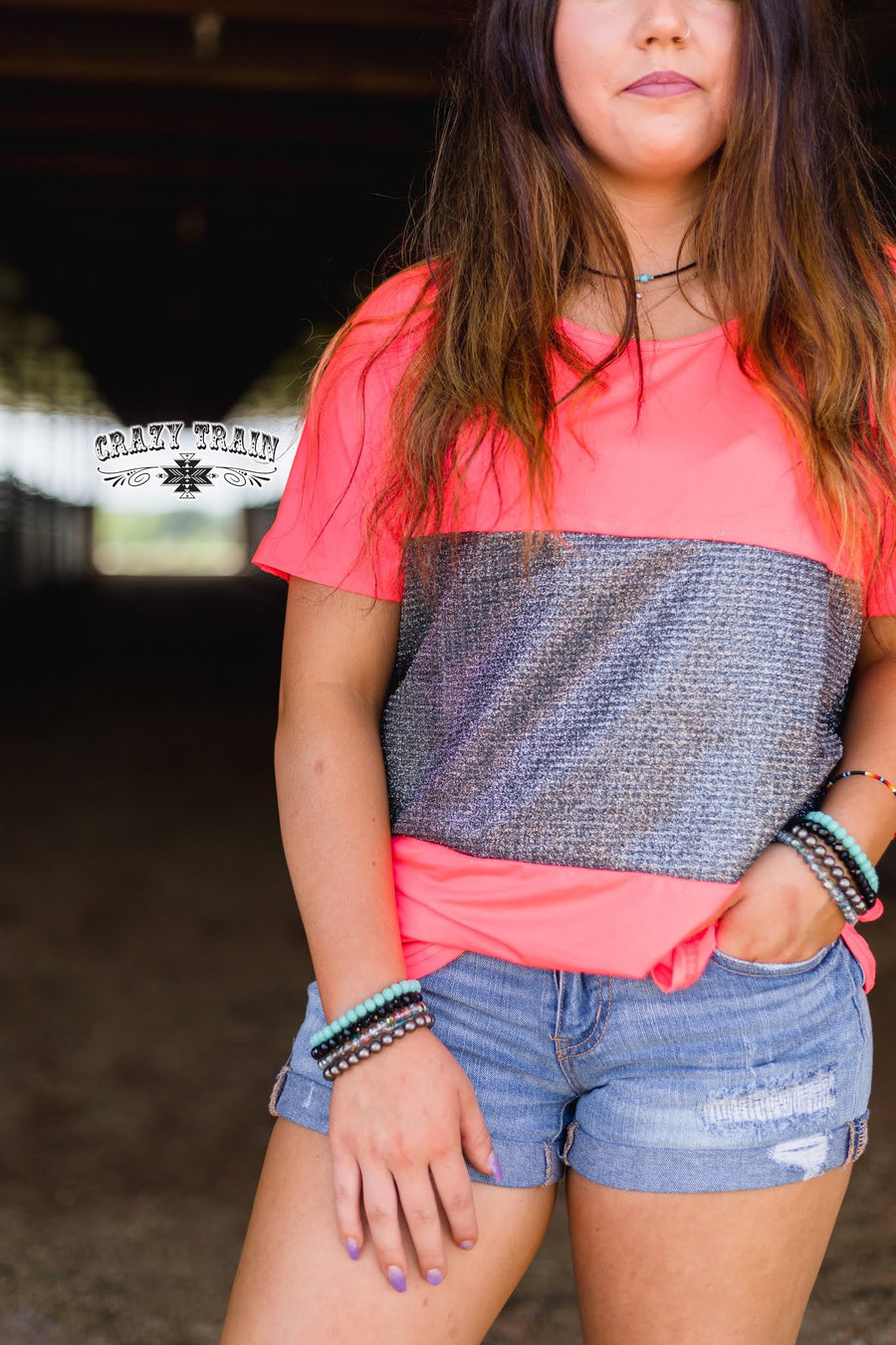 Coral Neon Me Sparkle Top