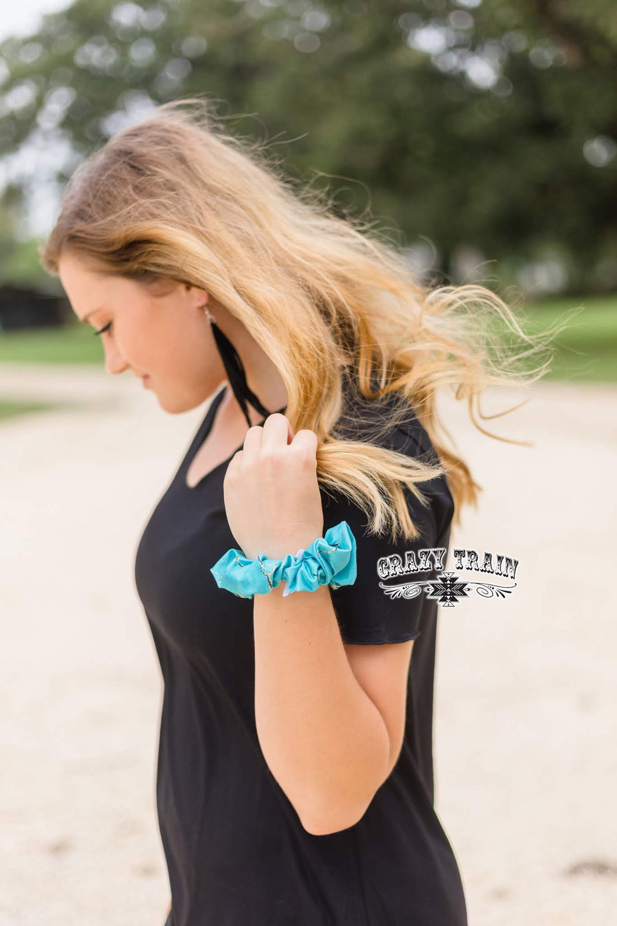 Turquoise Stone Scrunchie