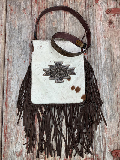 Aztec Patch & Cowhide Fringe Cross Body Purse