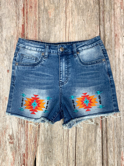 Aztec Sunset Embroidered Shorts