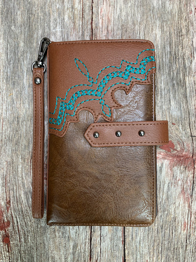 Turquoise Boot Stitch Wallet