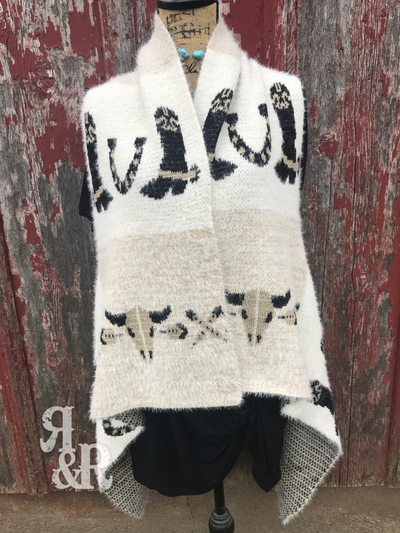 Cow Skull & Cowboy Boot Vest - Ropes and Rhinestones