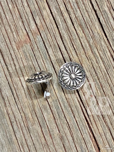 Circle Concho Clip On Earrings