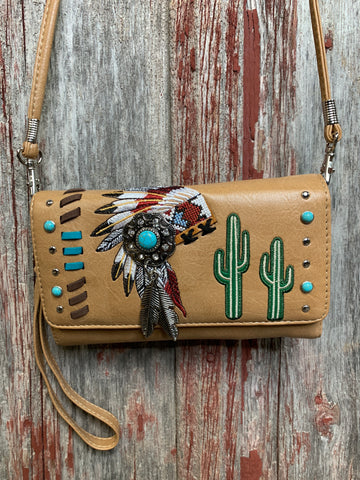 Big Chief Tri Fold Cross Body Wallet - Ropes and Rhinestones
