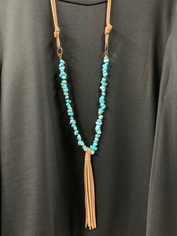 Leather Tassel Turquoise Necklace Set