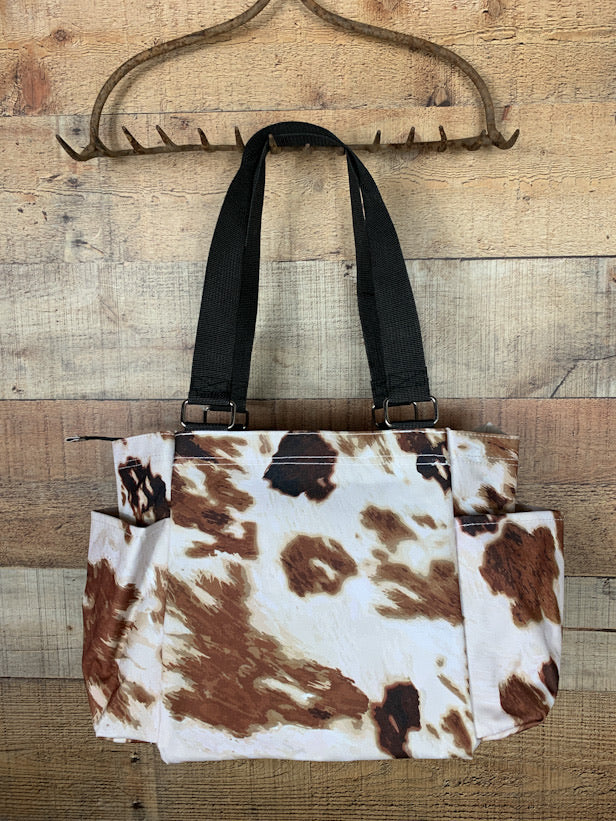 Cow Print Small Utility Tote