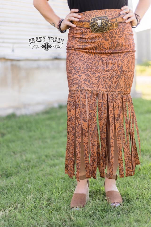 Lonestar Tooled Leather Fringe Skirt