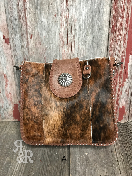 Cowhide Concho Cross Body Purse - Ropes and Rhinestones