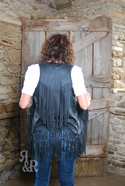 Black Fringe Vest - Ropes and Rhinestones