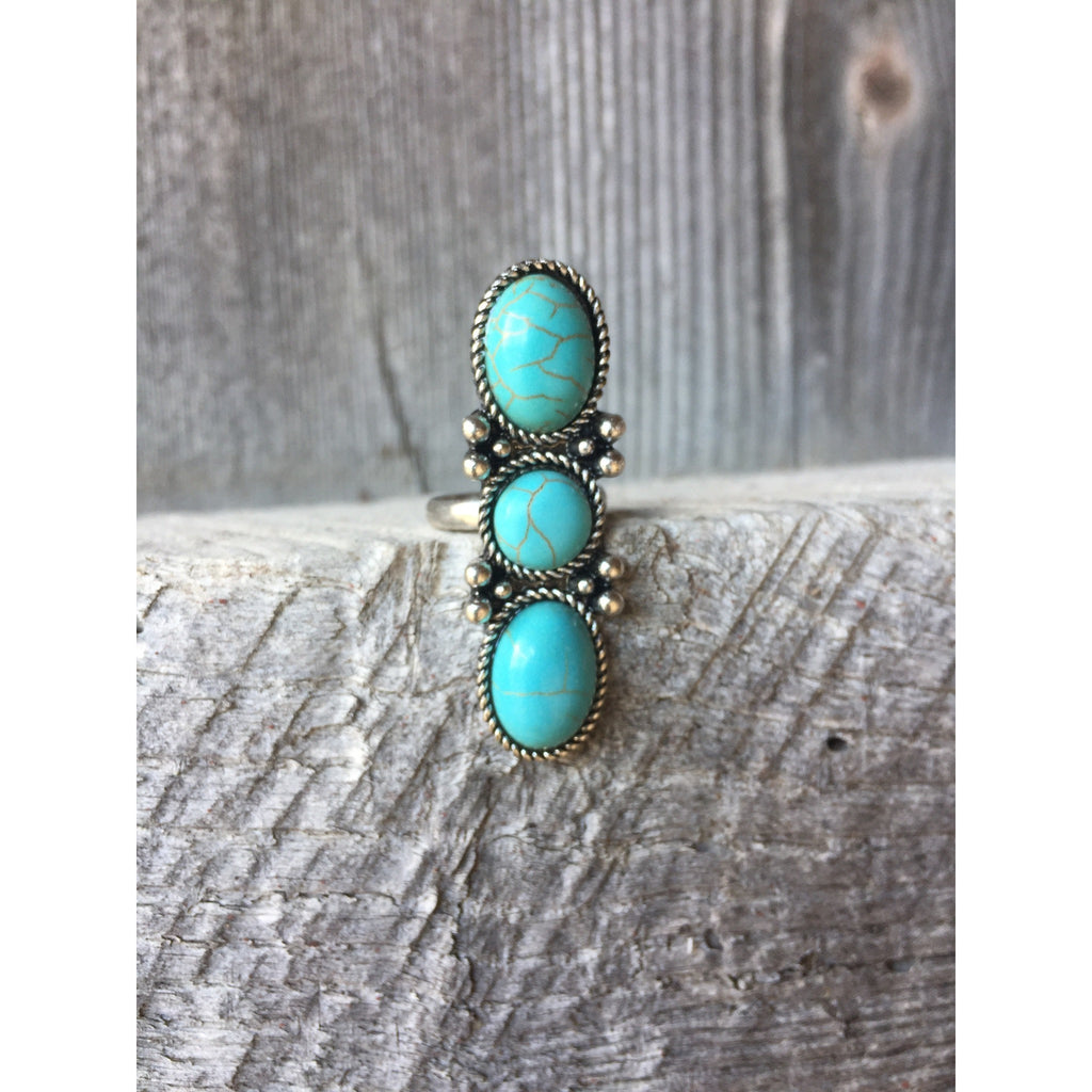 Triple Turquoise Ring - Ropes and Rhinestones