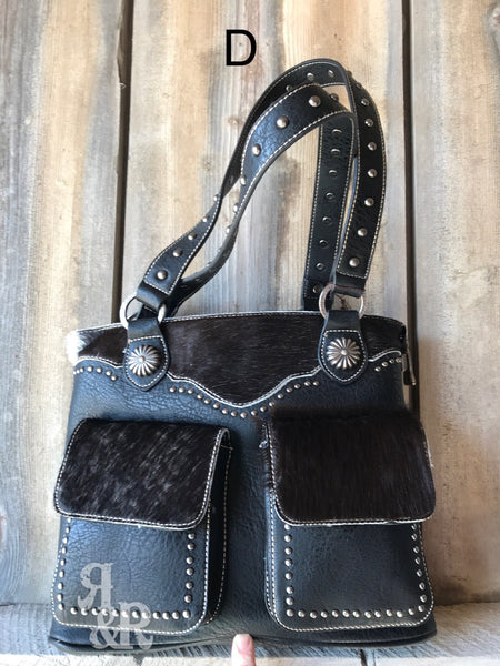 Cowhide Double Pocket Tote - Ropes and Rhinestones
