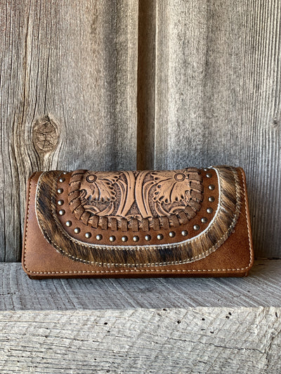 Cowhide Tooled Wallet/Wristlet