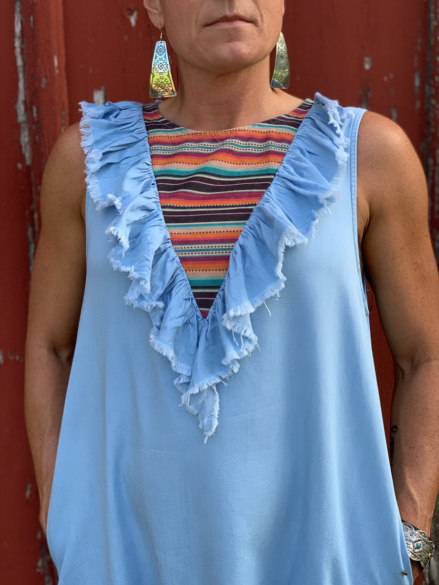 Denim Ruffle & Serape Dress