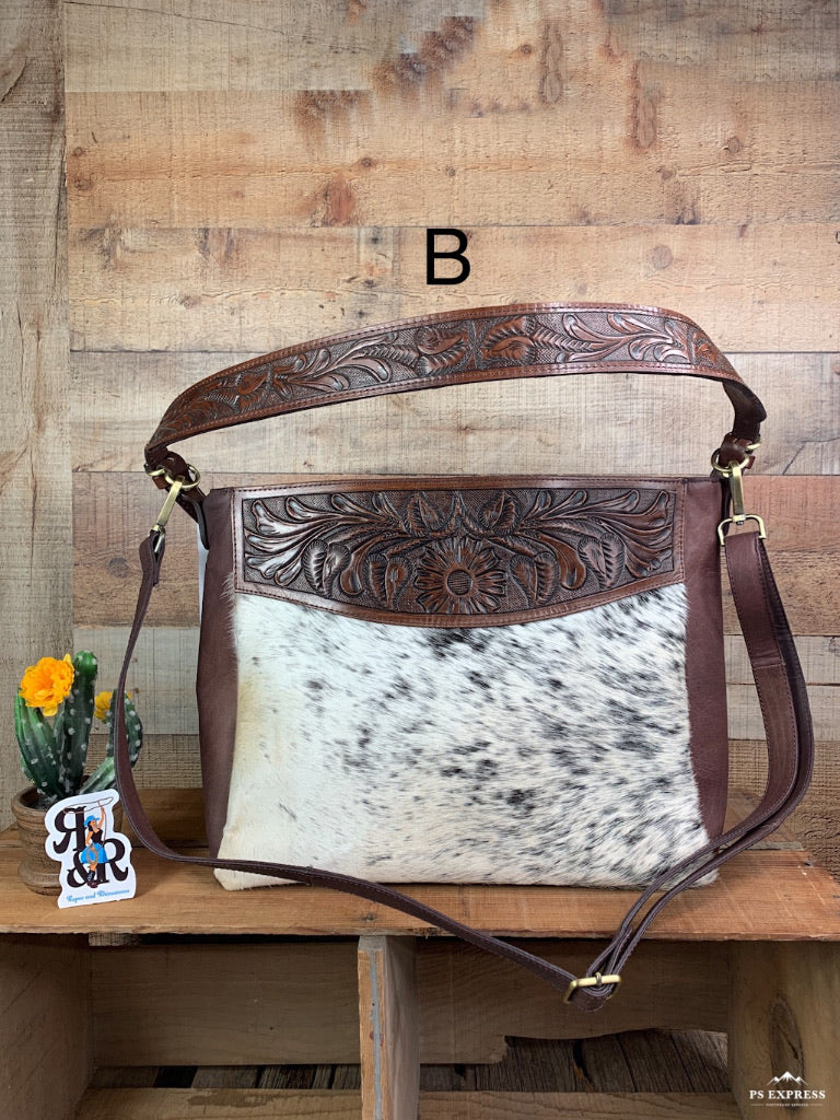 Tooled Leather & Cowhide Hobo Cross Body Purse