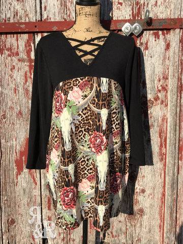 Leopard & Cow Skull Top