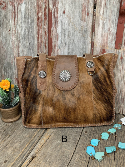 Cowhide Concho Wide Tote