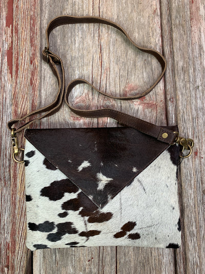 Cowhide Envelope Fringe Cross Body Purse
