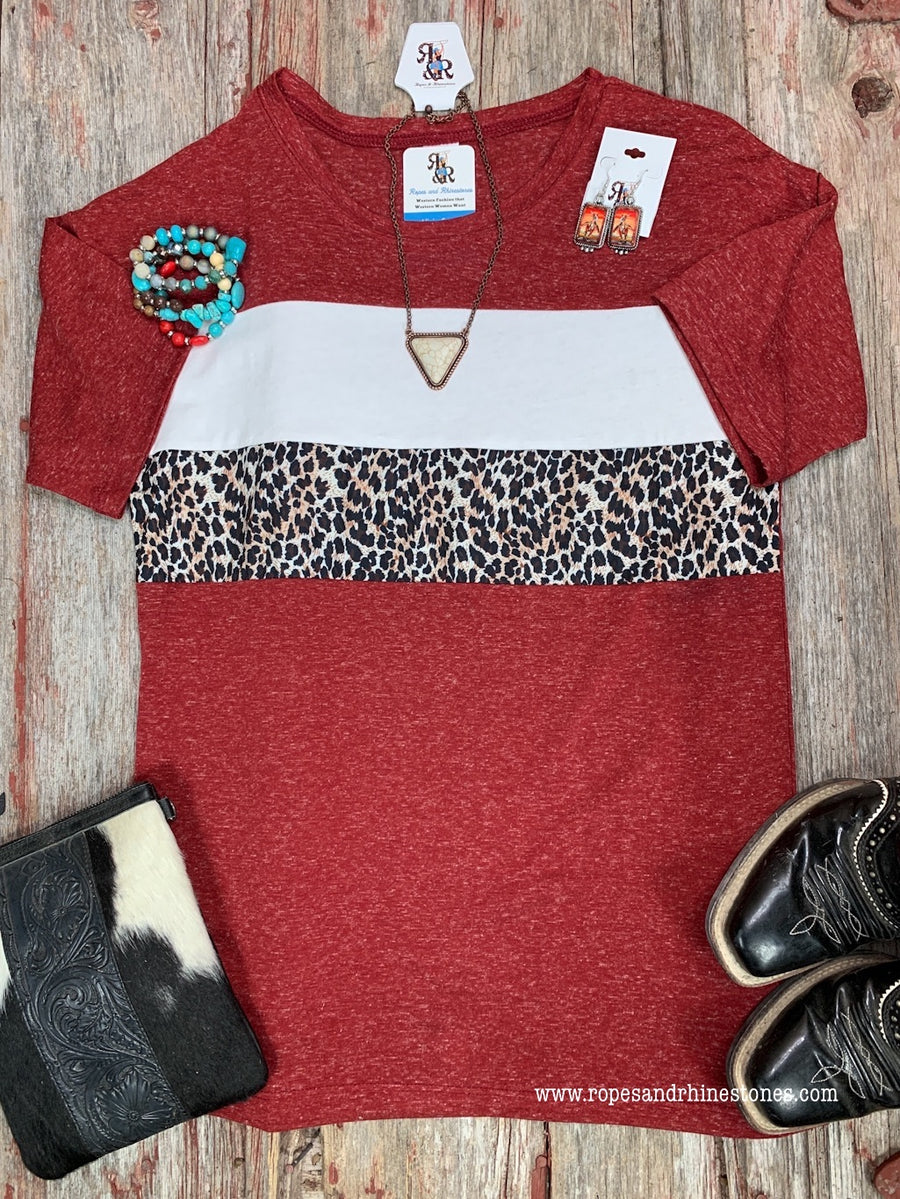 Leopard Color Block Maroon Top