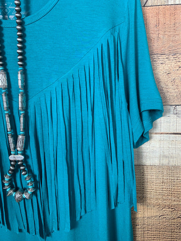 Fringe In Low Places Shirt Teal