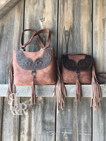Tooled Fringe Tote or Crossbody