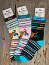 MW Cow Skull & Feather Socks