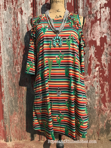 Serape Cactus Cold Shoulder Dress