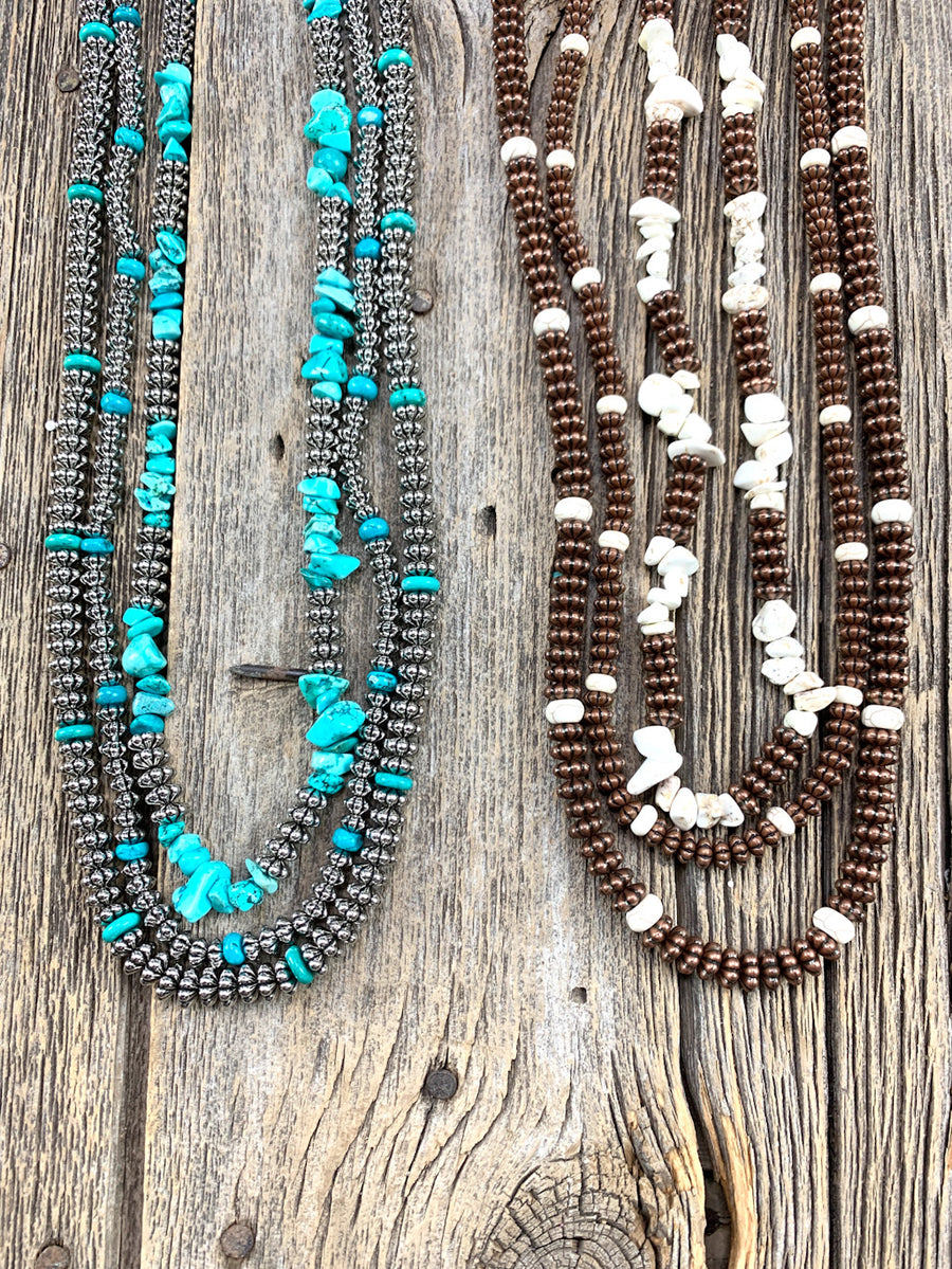 Triple Strand Textured Necklace Set