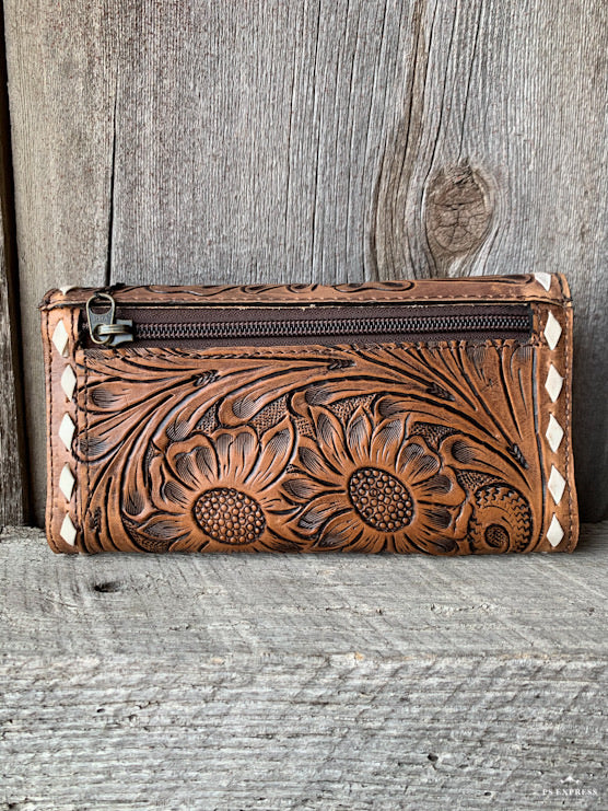 Flower & Buck Stitch Clutch Wallet